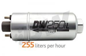 Zewnêtrzna pompa paliwa DW250iL DeatschWerks (250lph), uniwersalny zestaw monta¿owy