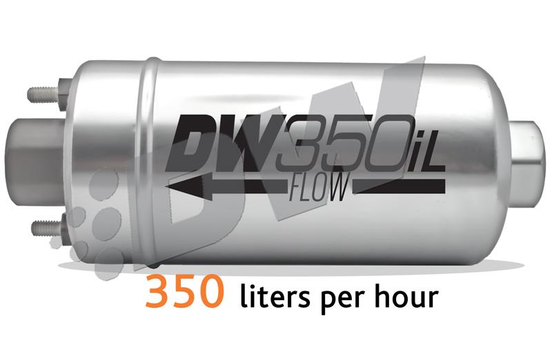 Zewnêtrzna pompa paliwa DW350iL DeatschWerks (350lph), uniwersalny zestaw monta¿owy
